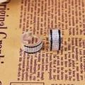 Thomas Style Creole Hoop Earrings with Full White & Black Cubic Zirconia Women Luxury Wedding Jewelry Earring TS Gifts Brincos