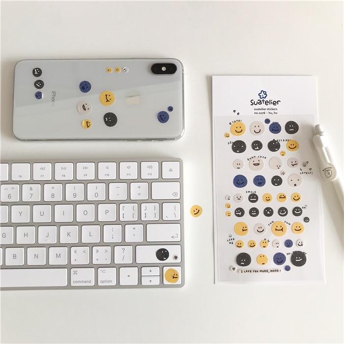 SIXONE 1Pc Ins Creative Cute Mini Stickers Smiling Face Expression Pack Phone Stickers Handbook Material Decorative Sticker