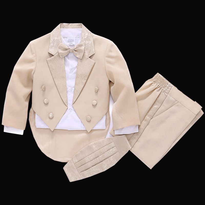 Kids Tuxedos Boys beige Dress suit Children Tails suit Jacket Vest Shirt Trouser Bow tie 5PCS Boys formal dress