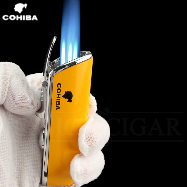 COHIBA Metal Windproof Mini Pocket Cigar Lighter 3 Jet Blue Flame Torch Cigarette Lighters With Cigar Punch Gift Box