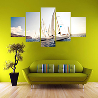 Framed 5 Pcs Yacht Printed Canvas Painting For Sailing Scenery Hornet Wall Picture For Living Room
