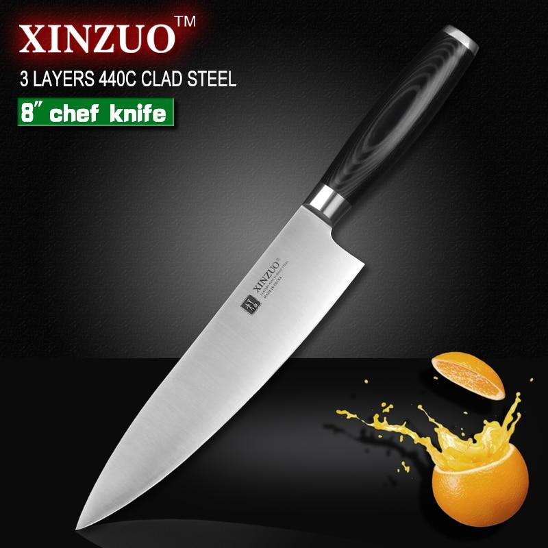 XINZUO 8 дюймов нож шеф-повара три слоя многослойной стали кухонные ножи 440C micarta ручка тесак нож кухонный снасти бесплатная доставка