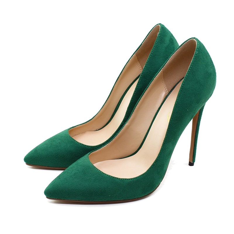 Dropshopping Big Size High Heel Shoes Kid Suede Leather Women Pumps 12 CM Pointed Toe Genuine Party D003A