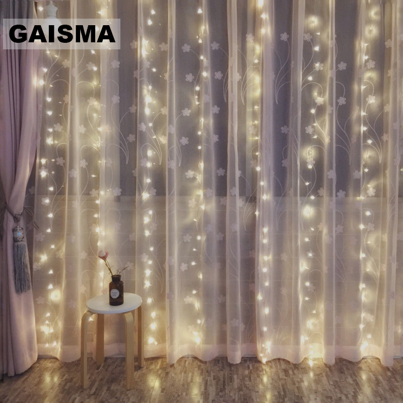 6M x 1 5M LED Curtain Lights Garland Christmas Fairy Lights Party New Year Wedding Decorations Holiday Lighting Outdoor in Holiday Lighting from Lights Lighting