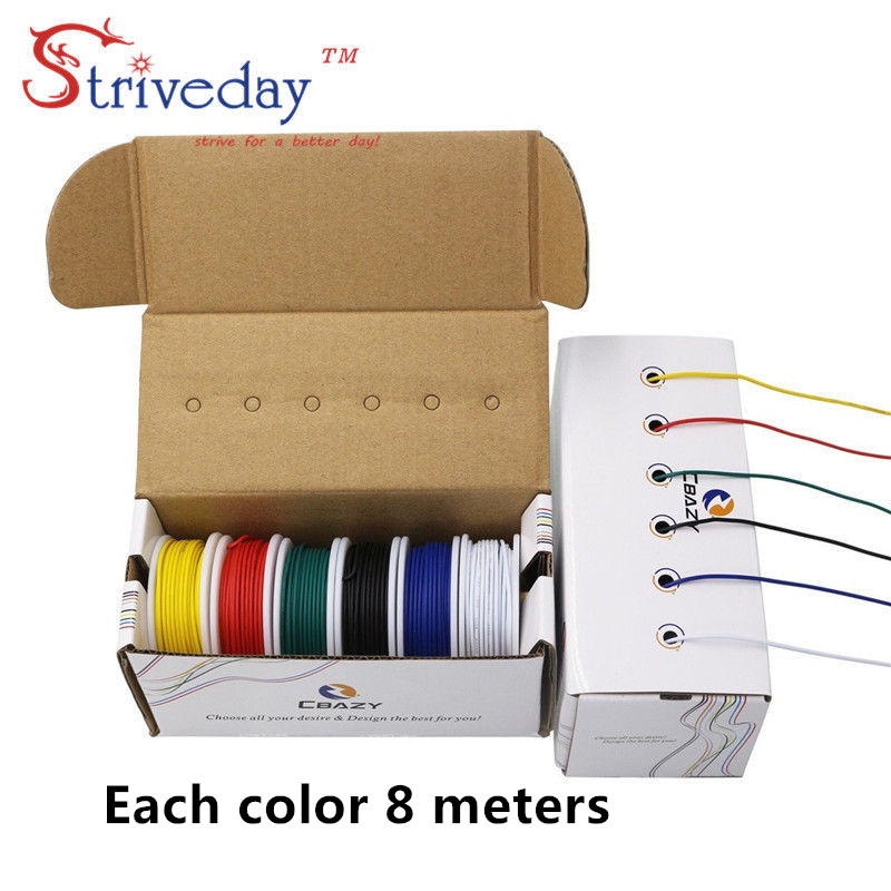 цена 6 colors/box UL 1007 22AWG Each roll 8 meters Airline Cable Line Electric Wire Copper PCB wire DIY