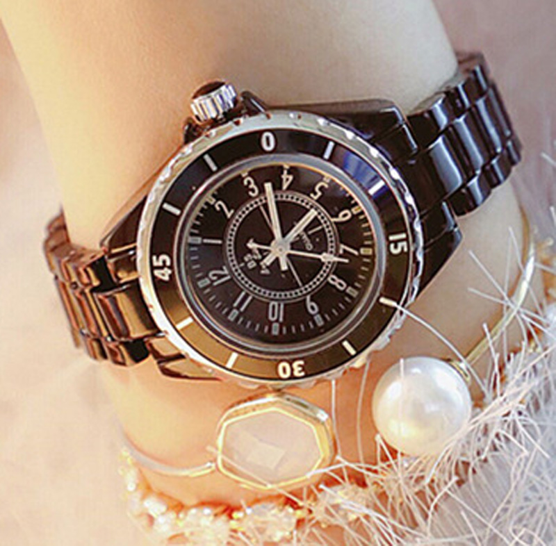 Hot Sale BS Brand Full Crystal Ceramics Band Black Watch Women Luxury Czech Stones Watch Lady Zircon Rhinestone Bangle Bracelet