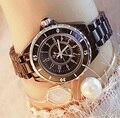 Venda quente bs marca cheia de cristal cerâmica banda relógio preto mulheres luxo checa pedras relógio senhora zircon strass pulseira
