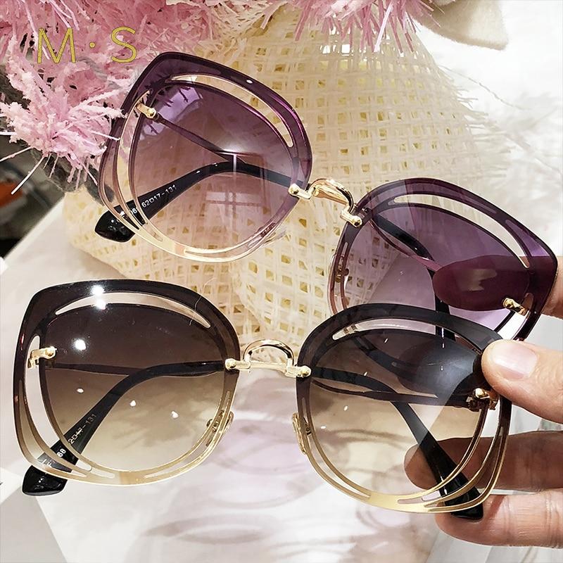 MS 2018 Women Luxury Classic Eyewear Female Sunglasses Original Brand Designer Sunglasses Pierced Sun Glasses Fashion UV400