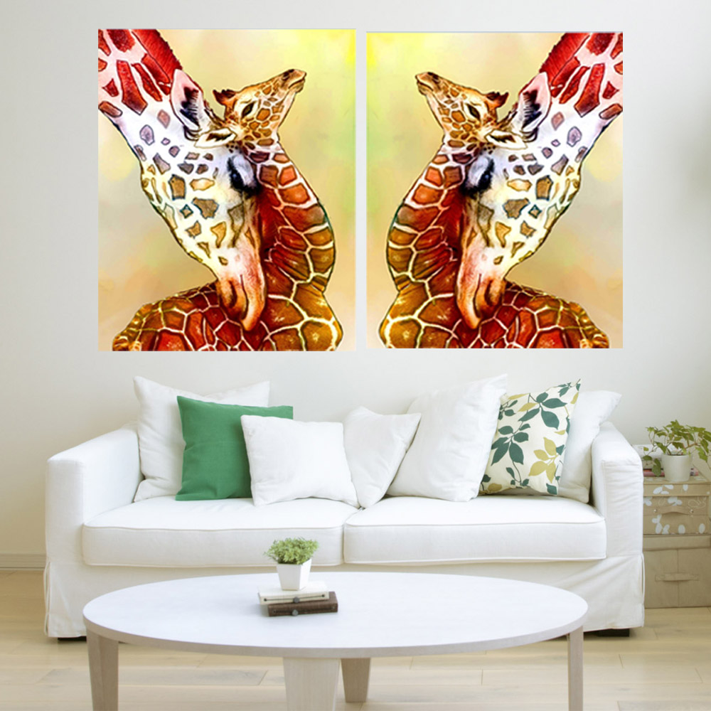 Lovely Giraffe Painting Handmade Modern Animal Canvas