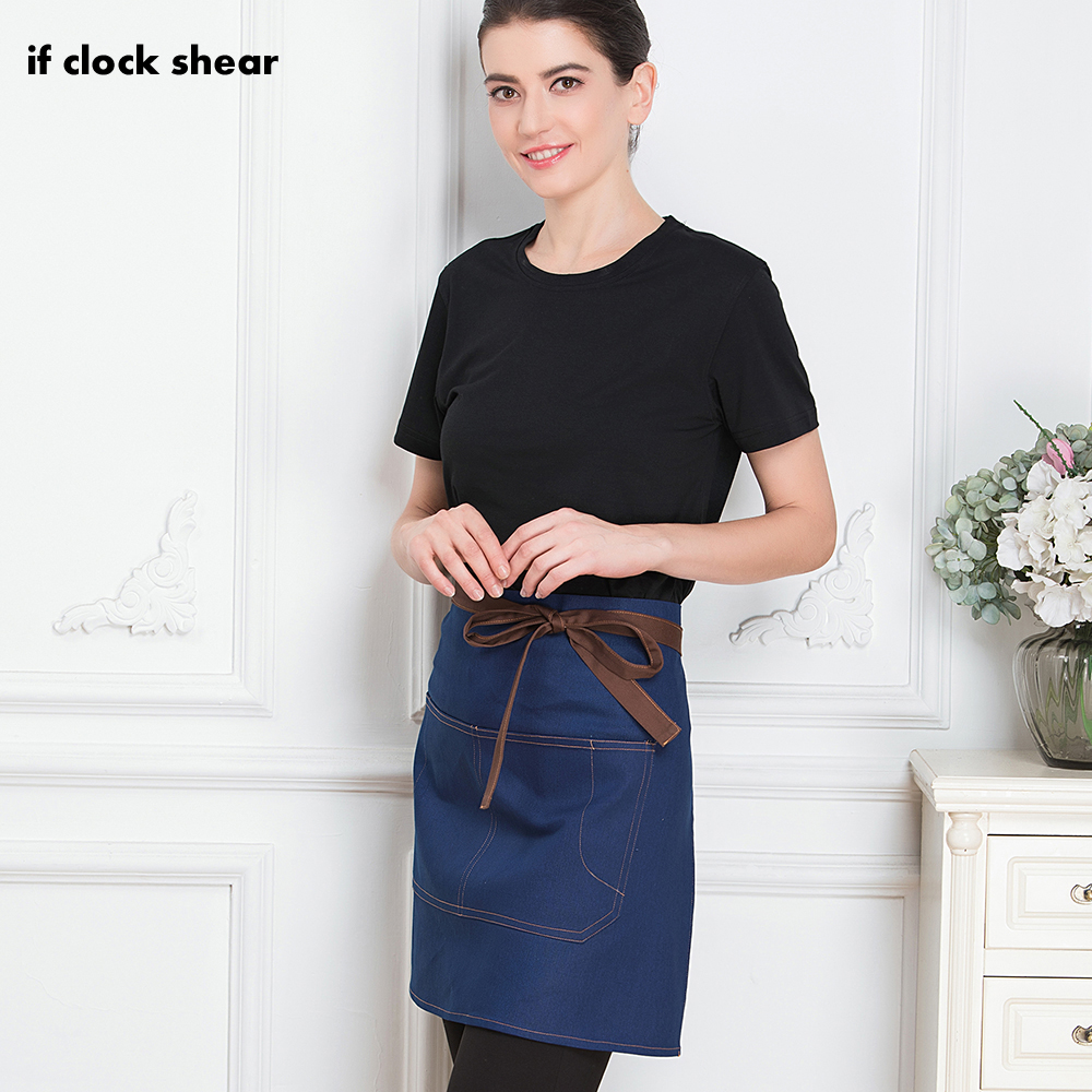 New Of Apron High Quality Wholesale Unisex Kitchen Hotel Coffee Bakery Chef Waiter Cleaning Work Wear Short Aprons Chef Uniform