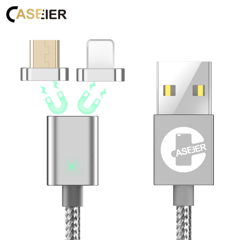 CASEIER 2 in 1 Magnetic Data Cable Micro USB Cables For Samsung Huawei Tablet Android Mobile Phone Fast Charge For iPhone 7 8 X