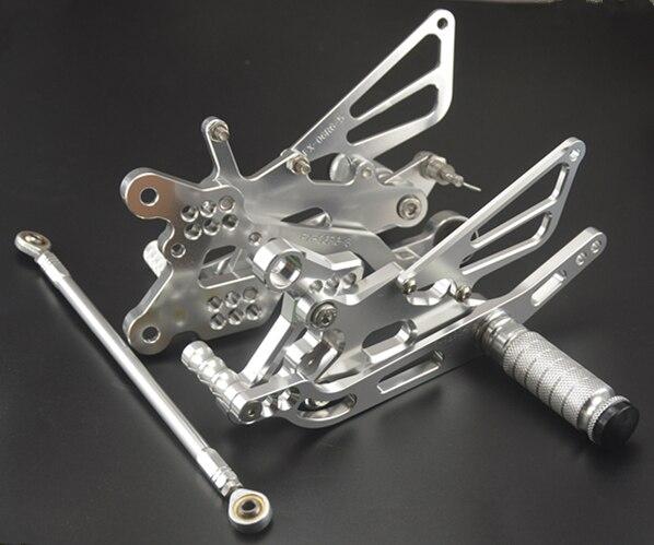 Repose-pieds réglable CNC montages pour siège arrière repose-pieds Kit pour CBR 1000RR 2004-2007 pédales de moto en aluminium repose-pieds argenté/blackGold - 2
