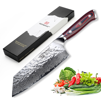 "KEEMAKE Kitchen Kinves Chef Knife Hammer Damascus AUS-10 60HRC High-Quality Steel G10 Handle Sharp 7"" inch Cleaver Cutter Knife"