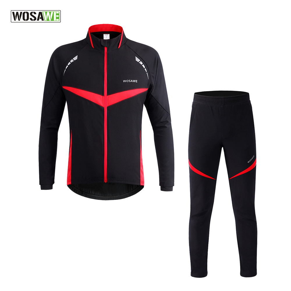 WOSAWE Men Thermal Winter Cycling Jacket Pants Suit Windproof Waterproof Bike Bicycle Wind Coat Clothing Long Sleeve Cycling Set veobike winter windproof thermal fleece reflective bike bicycle jersey warm cycling wind coat jackets pants set for men women