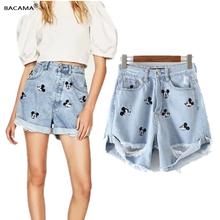 BACAMA denim shorts women england vintage mickey animal cartoon embroidery harem feminina high waist shorts women