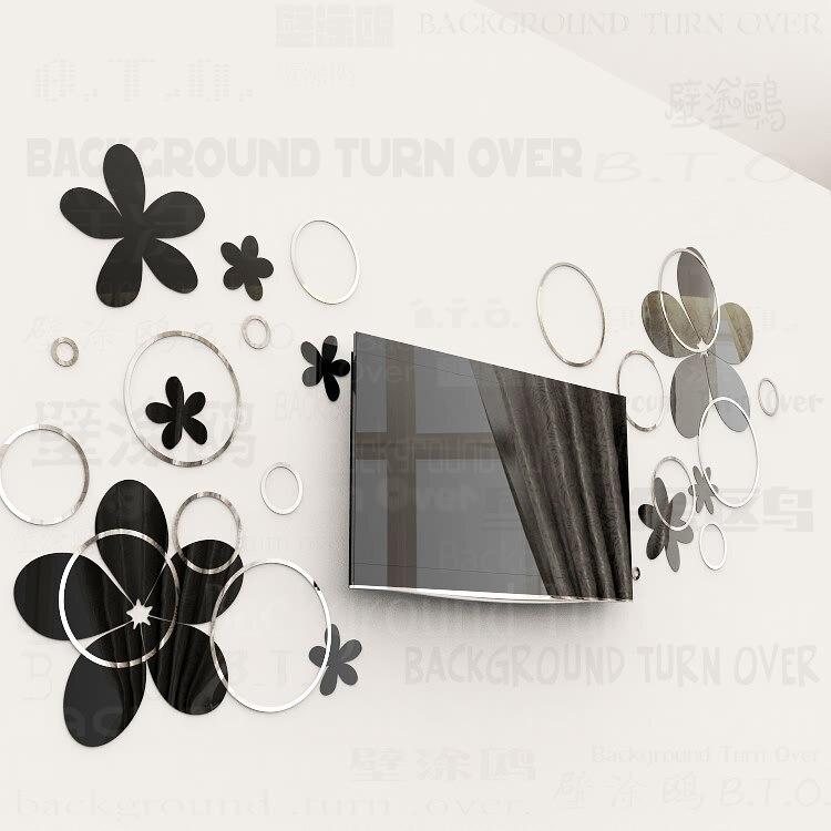 Bricolage diverses couleurs mode créative printemps nature cercle fleur 3D TV mur adhésif miroir mural sticker R017 - 4
