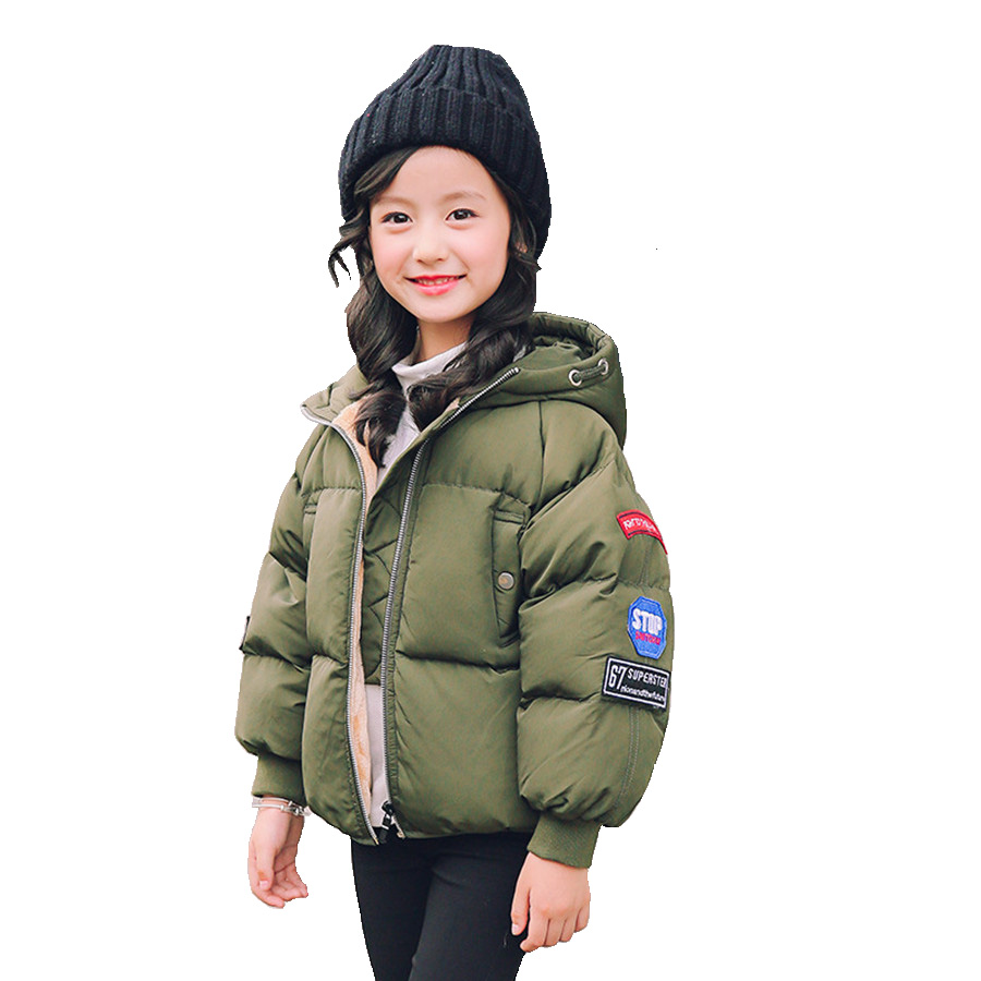 Jacket For Girls 2017 New European Army Green Thick Jacket Children Fashion Winter Girls Coat With Badge Autumn Black Kids Parka children s toy crossbow with infrared white army green