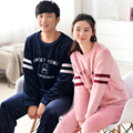 Couple pajama sets coral fleece women and men pijamas  lover winter thicking  flannel long-sleeve sleepwear