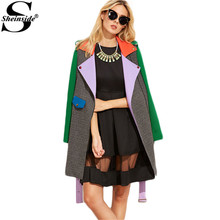 Sheinside Winter Coat Women Elegant Color Block Belted Asymmetric Zip Long Sleeve Lapel Coat Korean Outerwear