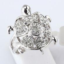 Мода шарм черепаха кольцо посеребренная кристалл размер 6- 9