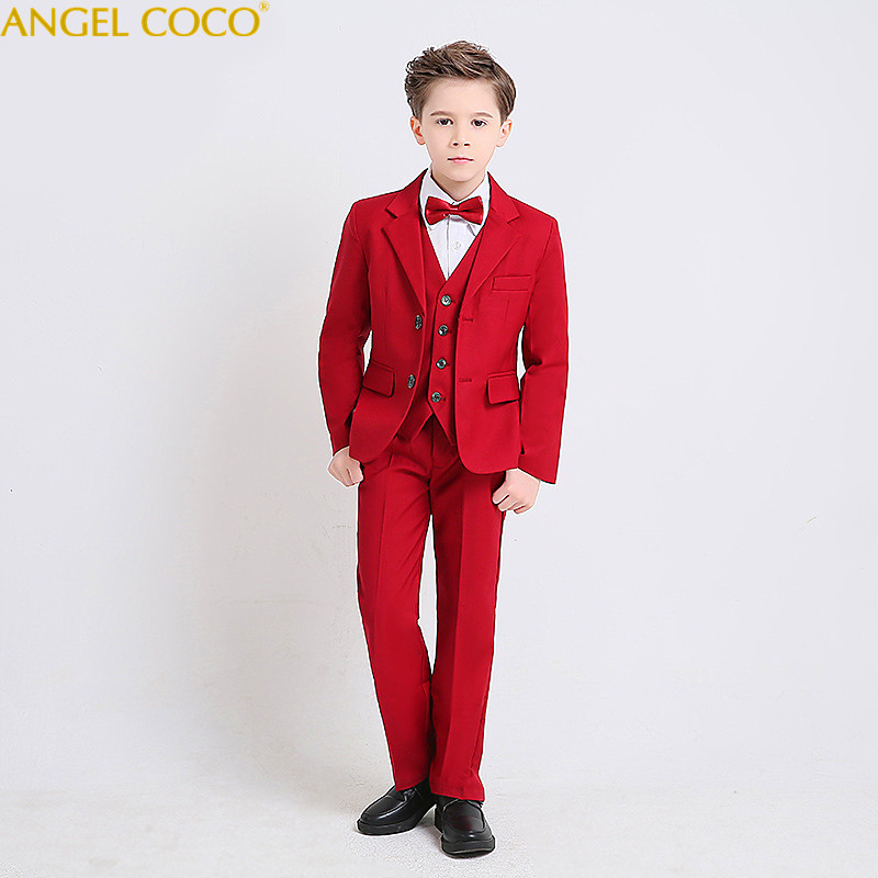 Boys Suit Male Flower Girl Dress Boy Piano Costumes Red Suits Big Children Clothing Boys Suits For Weddings Menino Blazer Jongen elk print pattern boys clothing blazer catwalk children s piano costumes hosted clothes thick winter boys suits for weddings set
