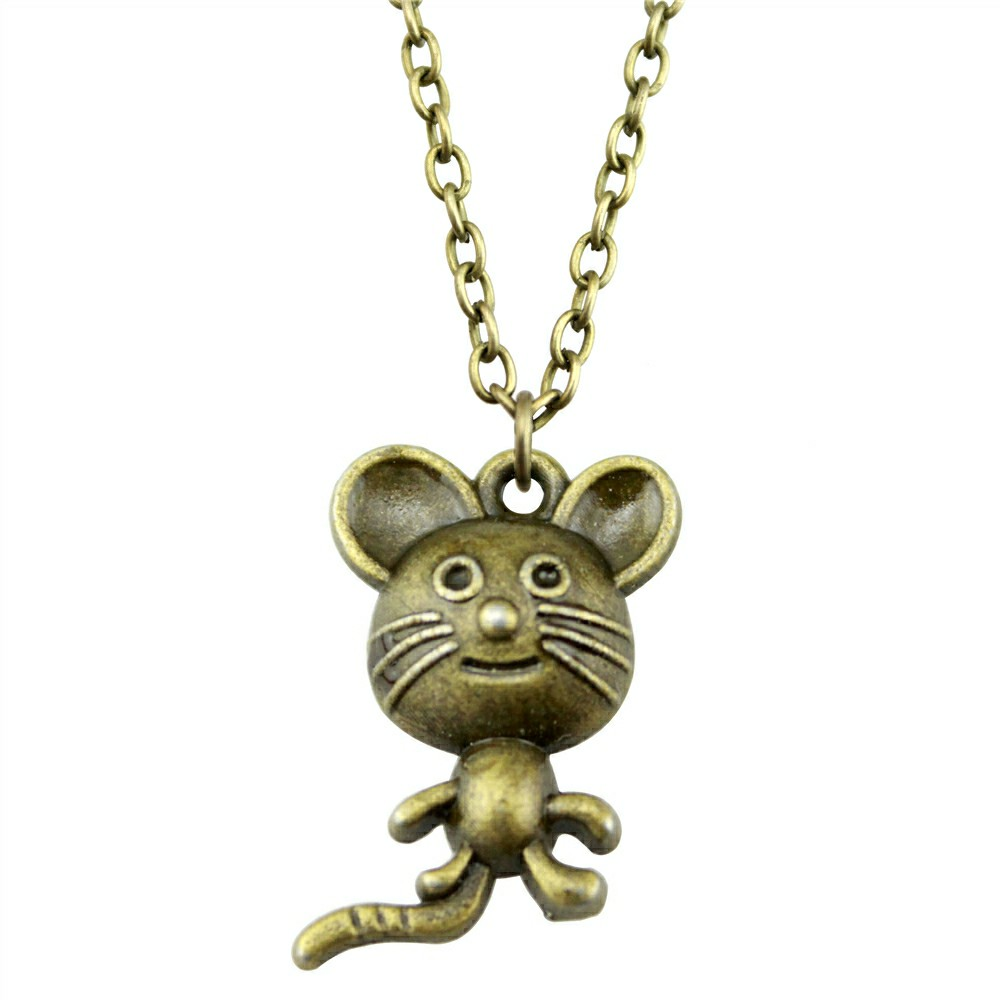 Mouse Antique Bronze Color 21x13mm Pendant Necklace Jewelry Fashion Necklace For Women Dropshipping