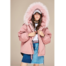 Large real fur hooded women winter down jacket(China)