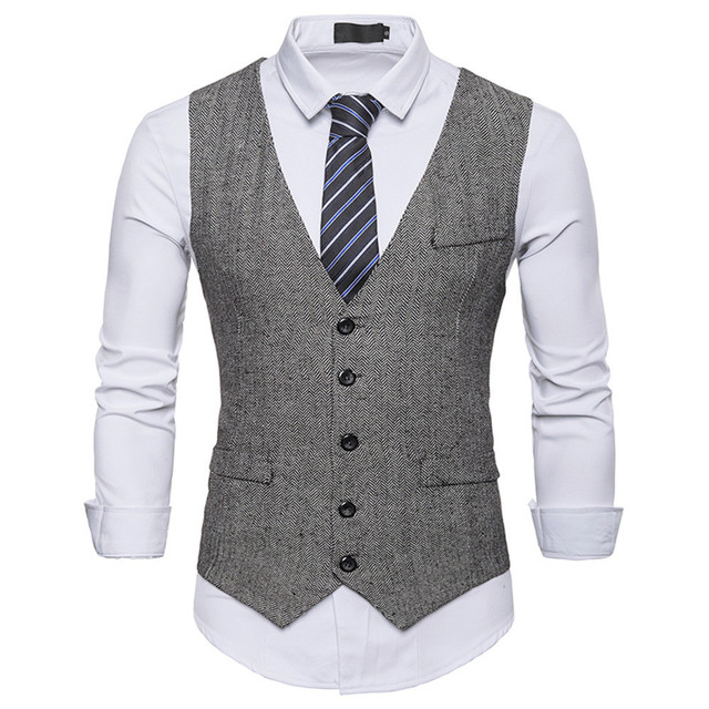 Waistcoat Dress Vests For Men Casual Slim Fit Mens Suit Vest autumn Gilet Homme Formal Business Jacket sleevelss d90628