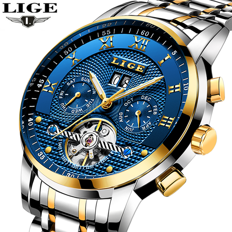 LIGE 2018 new men watch top brand luxury Business Automatic Machinery Mens Watches full steel waterproof man clock+watchs box