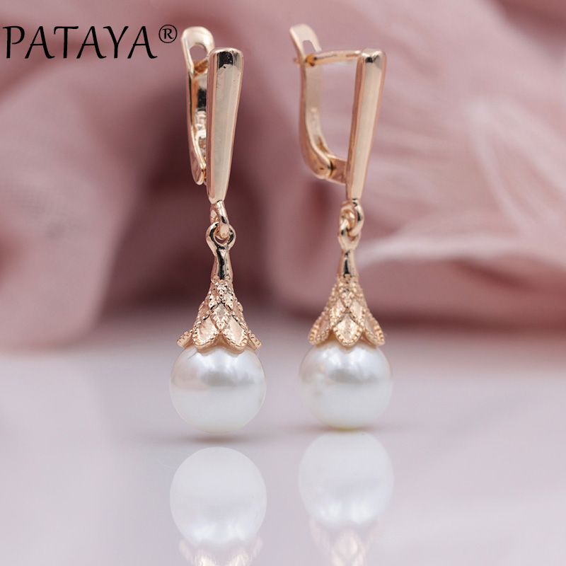PATAYA New Arrivals 585 Rose Gold White Round Imitation Pearls Long Earrings Women Wedding Party Romantic Fine Simple Jewelry