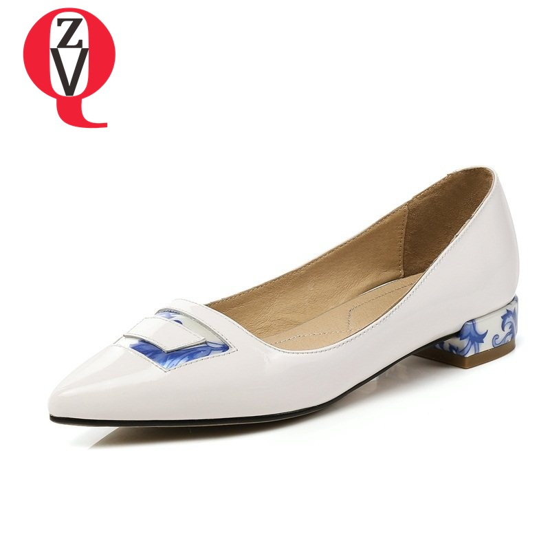 ZVQ spats pumps low heel fair maiden convenient pregnant apply blue and white porcelain skid resistance pointed woman shoes