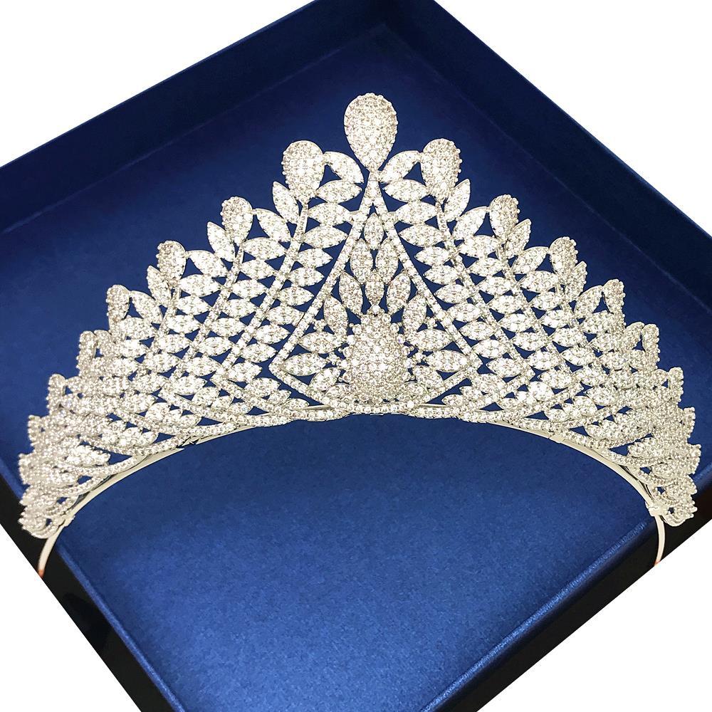 Micro Paved Full Cubic Zircon Tiara Luxury Zirconia Crown Wedding Hair Accessories Bride Large CZ Coroa Novia Diadem WIGO1224
