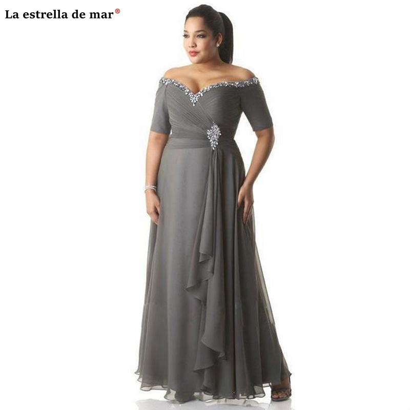 Brides Mother Dresses For Weddings2019 New Chiffon Crystal Neck A Line Gray Mother Of The Bride Dresses Long Plus Size Dinner