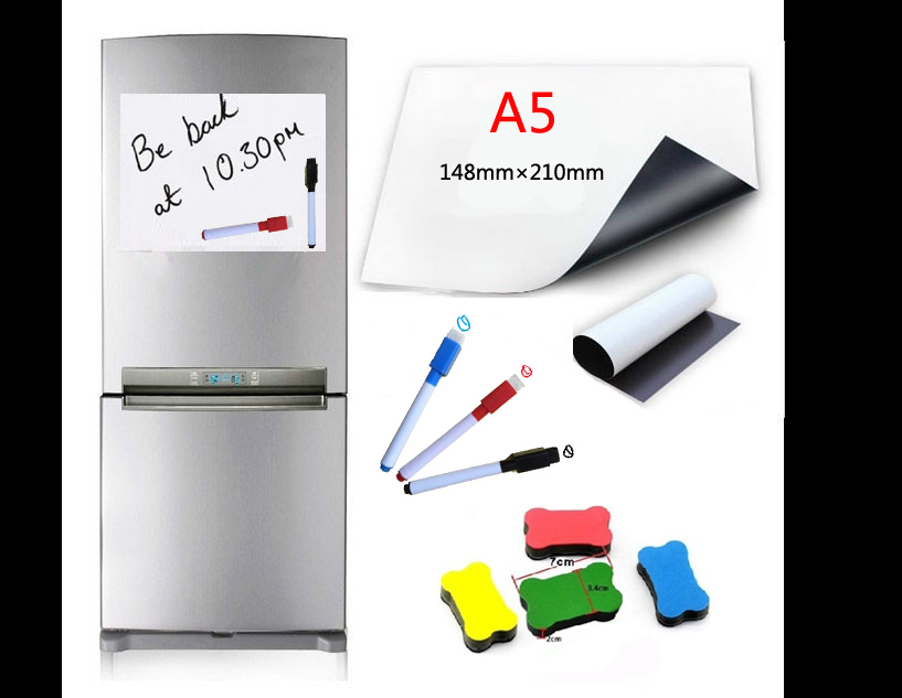 A5 Size Flexible Magnetic Whiteboard Fridge Soft Magnets Dry Wipe White Board Writing Record Board Magnetic Marker Pen EraserA5 Size Flexible Magnetic Whiteboard Fridge Soft Magnets Dry Wipe White Board Writing Record Board Magnetic Marker Pen Eraser
