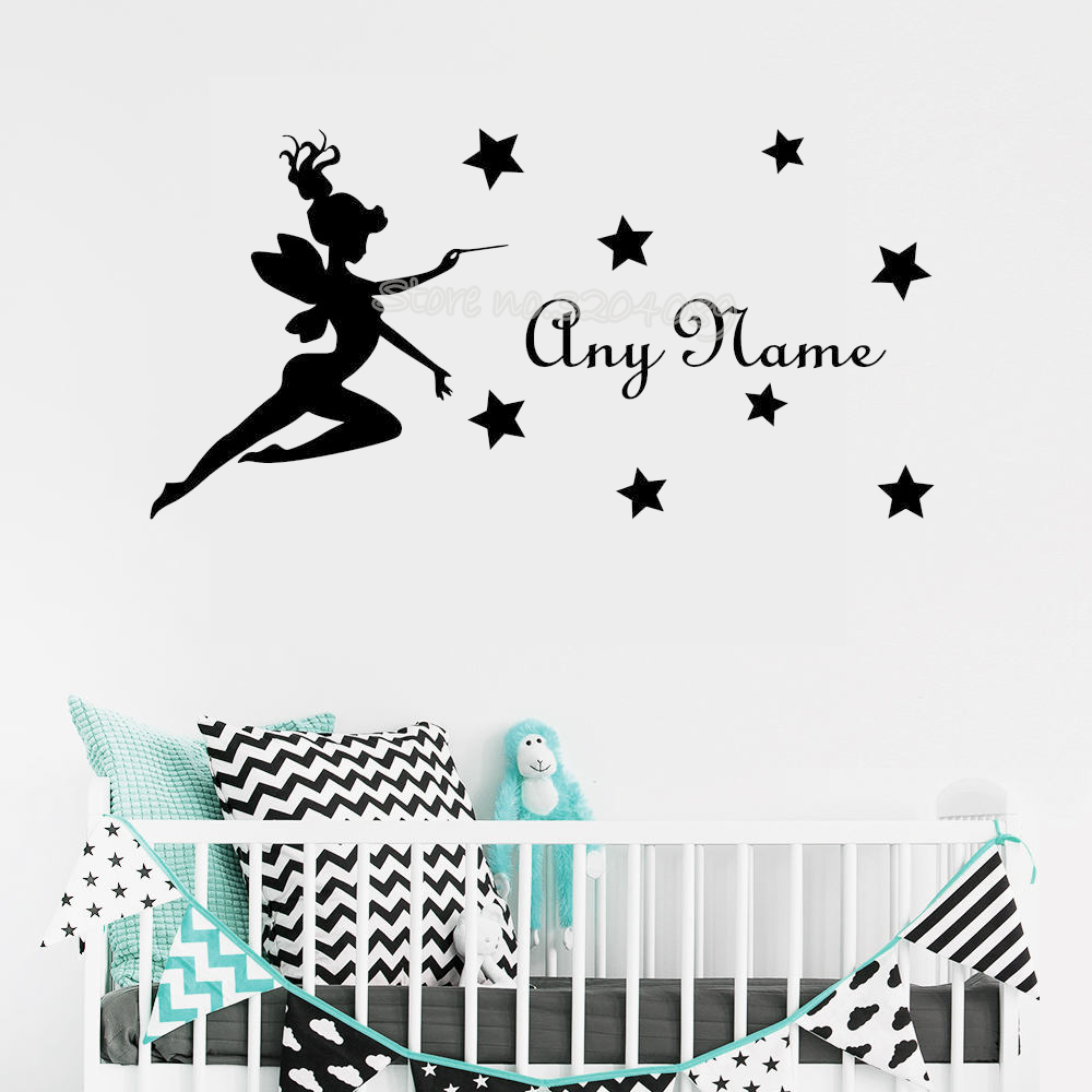 Flying fairy and stars Wall Decal Personalized Custom Name Girls Room Stickers Home interior Adhesive Kids Nursery Mural fq621