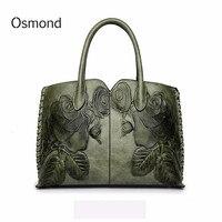 Osmond Bolsa Feminina 2018 женская сумка из натуральной кожи для женщин Зеленая роскошная сумка женская тисненая сумка-мессенджер брендовая сумка
