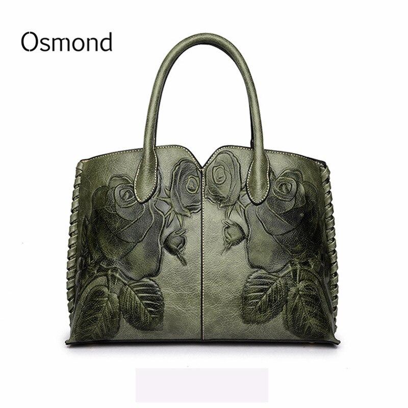 Osmond Bolsa Feminina 2018 Ladies Genuine Leather Bag For Women Green Luxury Handbag Female Embossed Messenger Bag Brand Totes
