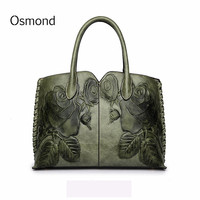 Osmond Bolsa Feminina 2018 Ladies Genuine Leather Bag For Women Green Luxury Handbag Female Embossed Messenger Bag Brand Totes