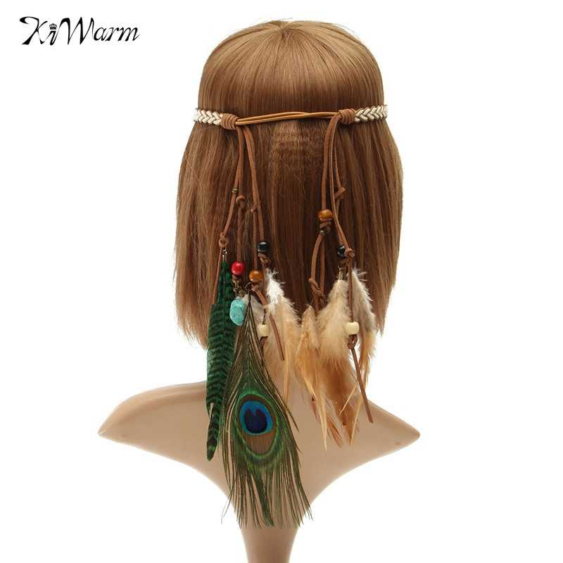 Kiwarm mujeres Artificial pluma diadema tocado accesorios para el cabello joyería