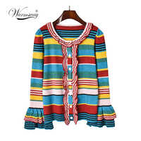 2019 Autumn New ruffles thin sweater single breasted striped cardigans long sleeve lurex knitted coat casual slim C-228