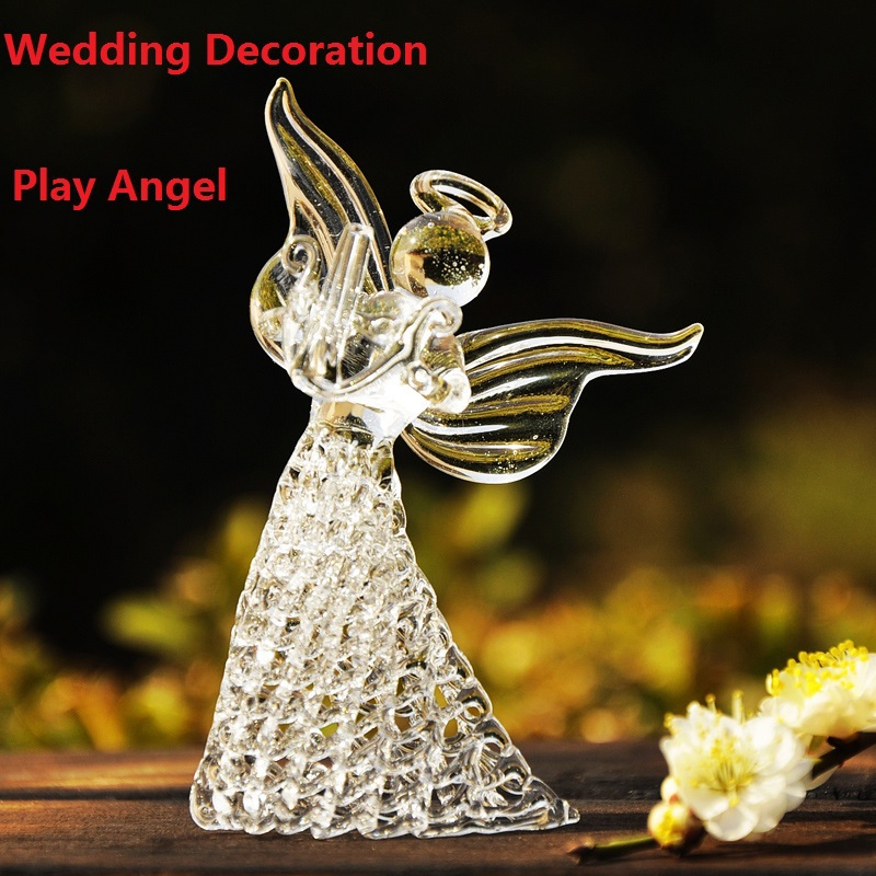 Handmade Piano Music Art Glass Happy Angle Crystal Wedding Decoration Valentine Day Wedding Gift Hotel Bar Decor School