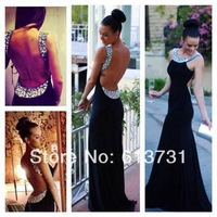 2014 New Fashion Spring Scoop Crystal Shinning Open Back Black Long Prom Dresses Mermaid Chiffon Evening Party Gowns BO5243