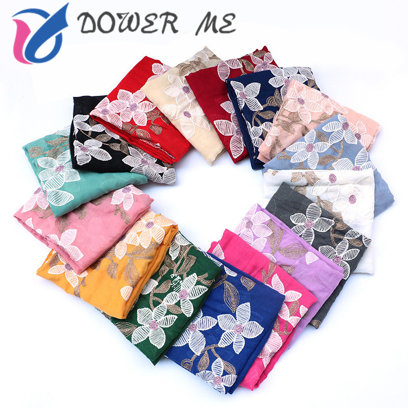 Women Big Size Embroidered Floral Viscose   Scarf   Autumn Winter Warm Cotton   Scarves   and   Wraps   Lady Embroidery Hijab Shawl 90*180CM