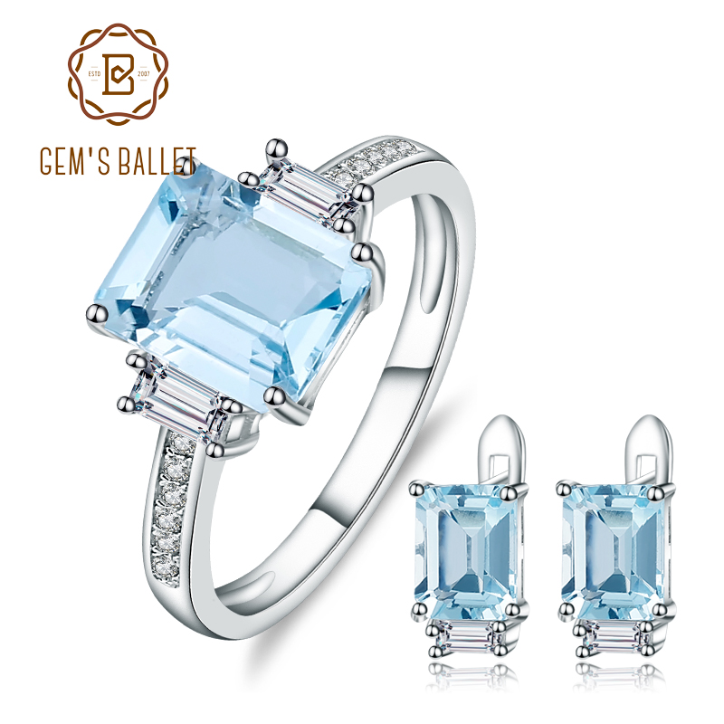 GEM'S BALLET Rectangle Natural Sky Blue Topaz Rings Clip Earrings Gemstone 925 Sterling Silver Fine Jewelry Set For Women Gift