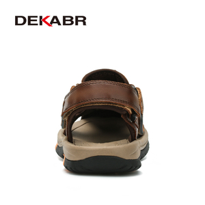 Image 3 - DEKABR Brand Men Genuine Leather Sandals Fashion Slippers Male Breathable Summer Beach Shoes Sandals Casual Men Shoes Size 38~45
