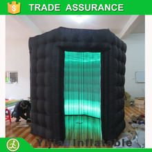 2 doors High quailty led strip at top and bottom inflatable octagon photo booth with roof