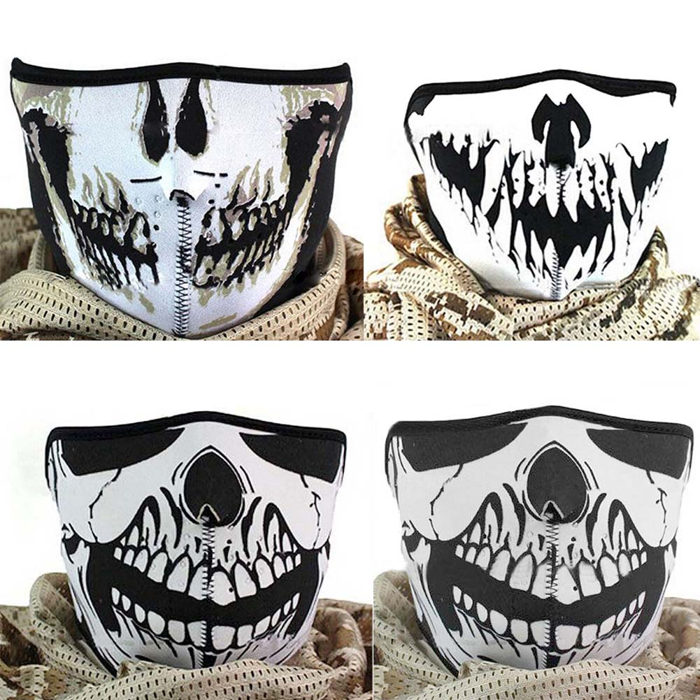 Multifunction Cosplay Bike Skeleton Mask Costume Halloween CS Mask Cycling Motorcycle Paintball Half Face Mask Winter Fa -MX8 halloween skeleton style cosplay costume face mask gloves set black white