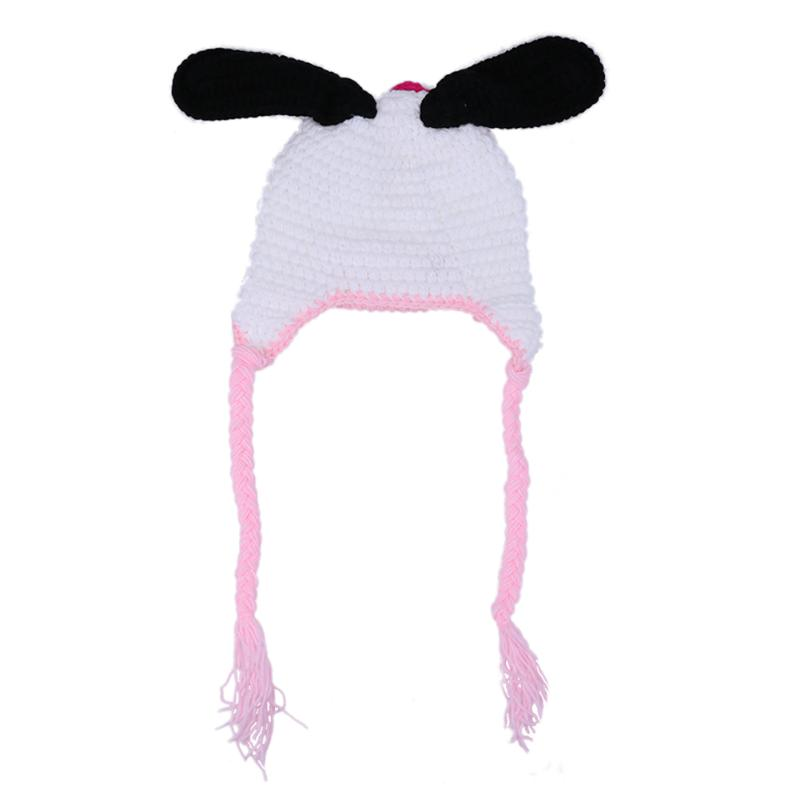b8c33cdd5b5 Baby Girls Hat Caps Winter Warm Infant Toddler Kids Dairy Cow Hat Cute  Cartoon Handmade Crochet Knitted Hat Newborn Photo Props-in Hats   Caps  from Mother ...