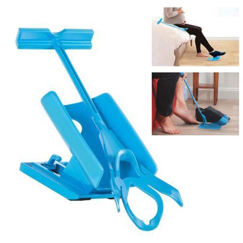 Mayitr 1pc Blue Sock Slider Care Foot Aid Helper Kit Helps Put Socks On Off No Bending Shoe Horn For Foot Care Tool sock aid kit sock helper slider fast