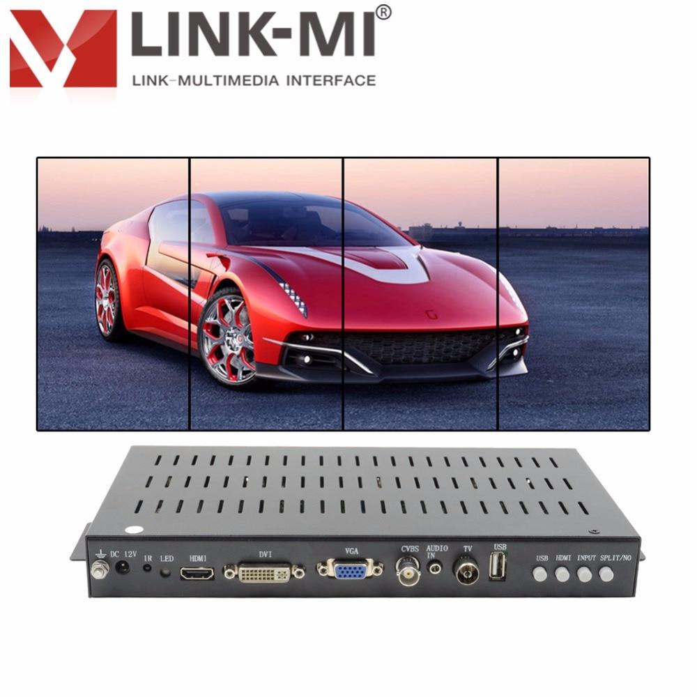 LINK-MI TV04V Controlador de Vídeo Wall Processador HDMI 2x2 90 graus de Rotação Vertical da tela VGA AV USB costura quatro imagem